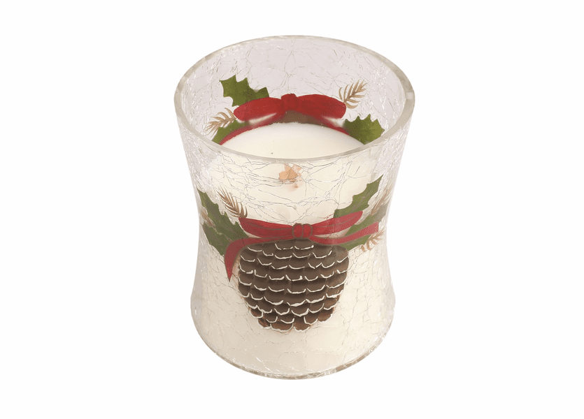 _DISCONTINUED - *Frasier Fir Medium Holiday Pine Cone Decal Crackle WoodWick Candle
