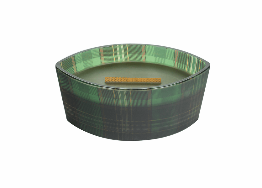 _DISCONTINUED - Frasier Fir Plaid Ellipse WoodWick Candle with HearthWick Flame