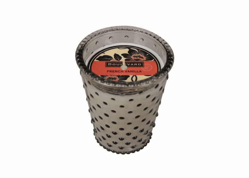 _DISCONTINUED - French Vanilla 14 oz. Hobnail Mink Glass Jar Candle by Boulevard