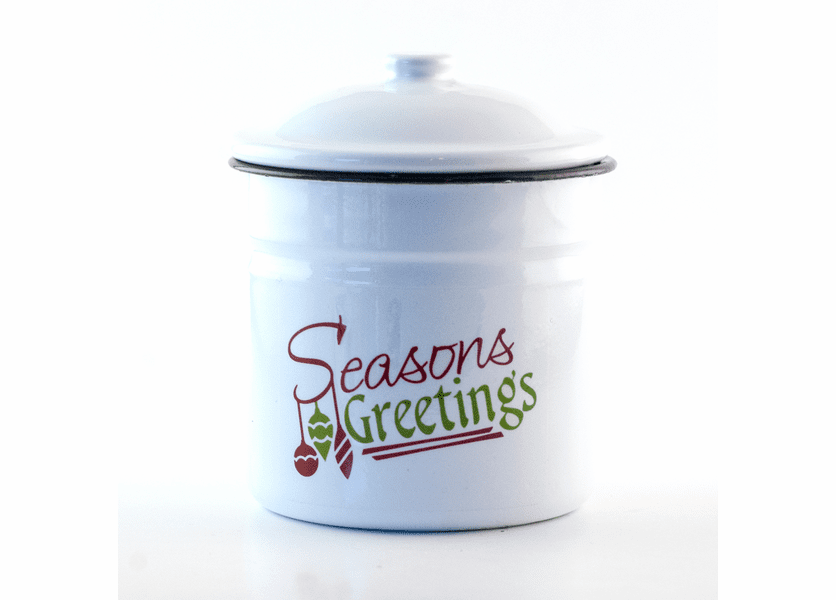 _DISCONTINUED - Fresh-Cut Christmas Tree Festive Holiday Enamelware Large Canister w/Lid Swan Creek Candle