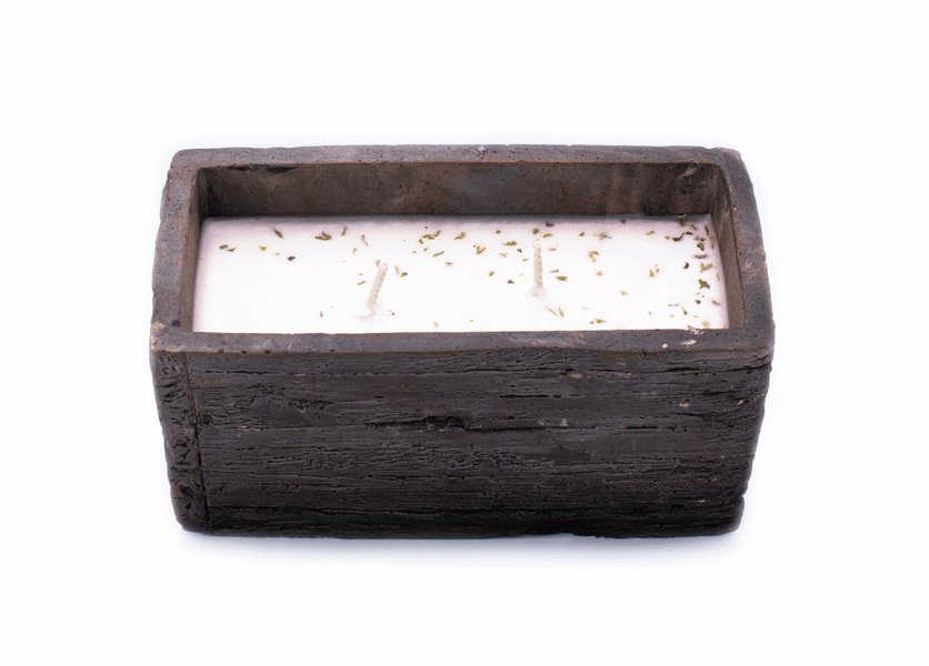 _DISCONTINUED - Fresh-Cut Christmas Tree Weathered Wood Pottery Small Window Box Swan Creek Candle