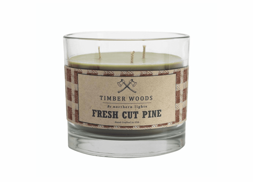 _DISCONTINUED - Fresh Cut Pine Timber Woods Glass Candle by Northern Lights