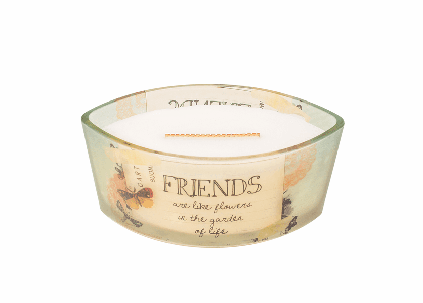 _DISCONTINUED - Friends Vanilla Bean Inspirational Ellipse WoodWick Candle HearthWick Flame
