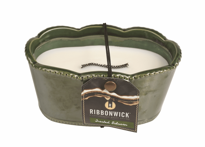 _DISCONTINUED - *Frosted Balsam Small Oval Premium RibbonWick Candle