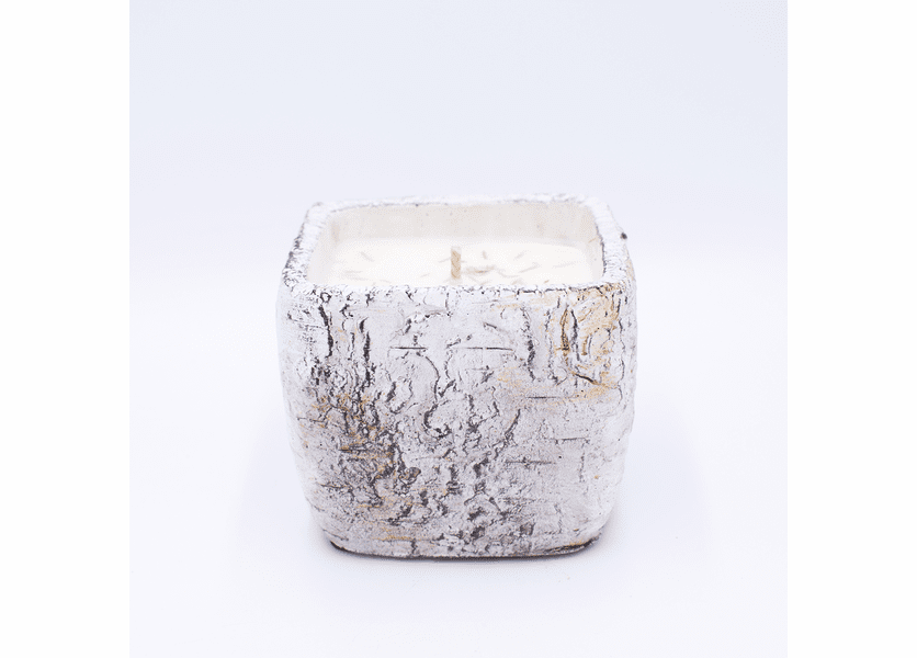 _DISCONTINUED - Frosted Cranberry & Sugared Vanilla White Woods Pottery Birch Small Square Pot Swan Creek Candle