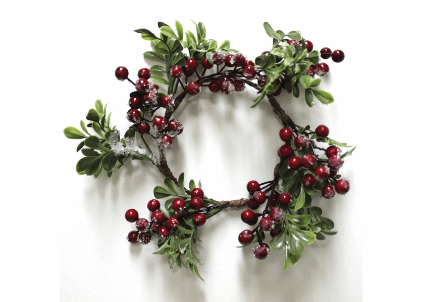_DISCONTINUED - Frosted Cranberry Winter Candle Ring by A Cheerful Giver