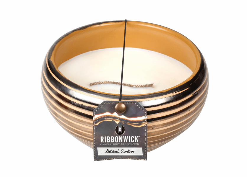 _DISCONTINUED - Gilded Amber Large Round Premium RibbonWick Candle