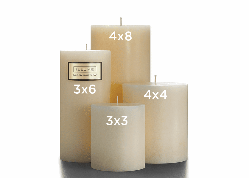 _DISCONTINUED - Gilded Amberleaf 4 x 8 Round Pillar Illume Candle