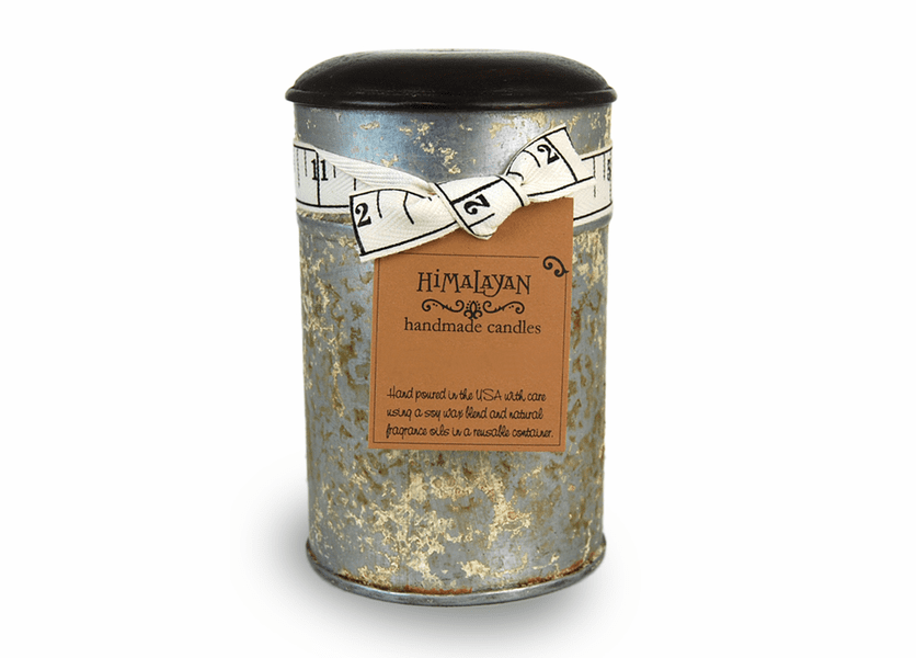 _DISCONTINUED - Ginger Patchouli 15 oz. Large White Spice Tin Candle by Himalayan Candles
