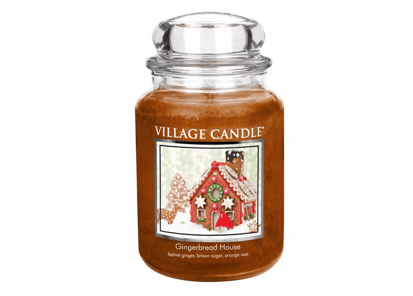 _DISCONTINUED - *Gingerbread House 26 oz. Premium Round by Village Candles