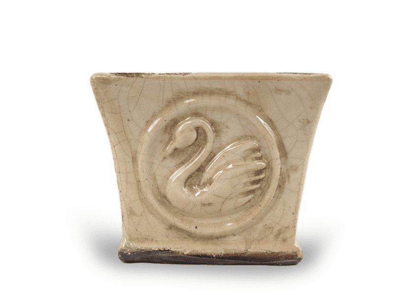 _DISCONTINUED - Gingerbread Large Swan Creek Signature Square Pot (Color: Ivory)