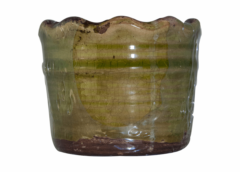 _DISCONTINUED - Gingerbread Swan Creek Ruffled Edge Pot (Color: Green)