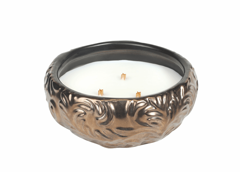 _DISCONTINUED - Gold Spun Sugar Gold Leaf Round WoodWick Candle