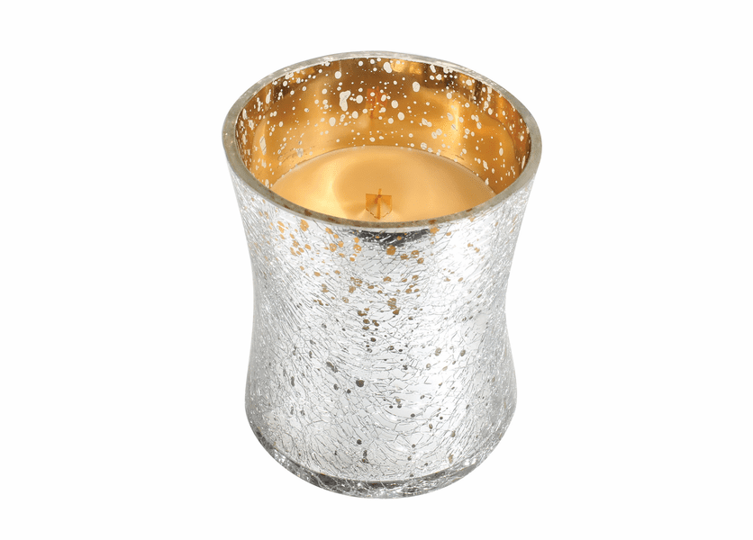 _DISCONTINUED - *Gold Spun Sugar Metallic Crackle Glass WoodWick Candle