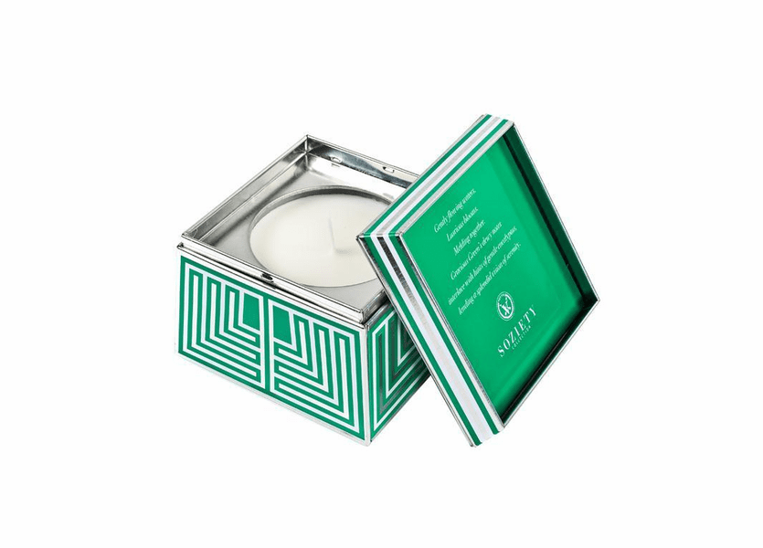 _DISCONTINUED - Gracious Green Soziety Trapezoid Tin Votivo Candle