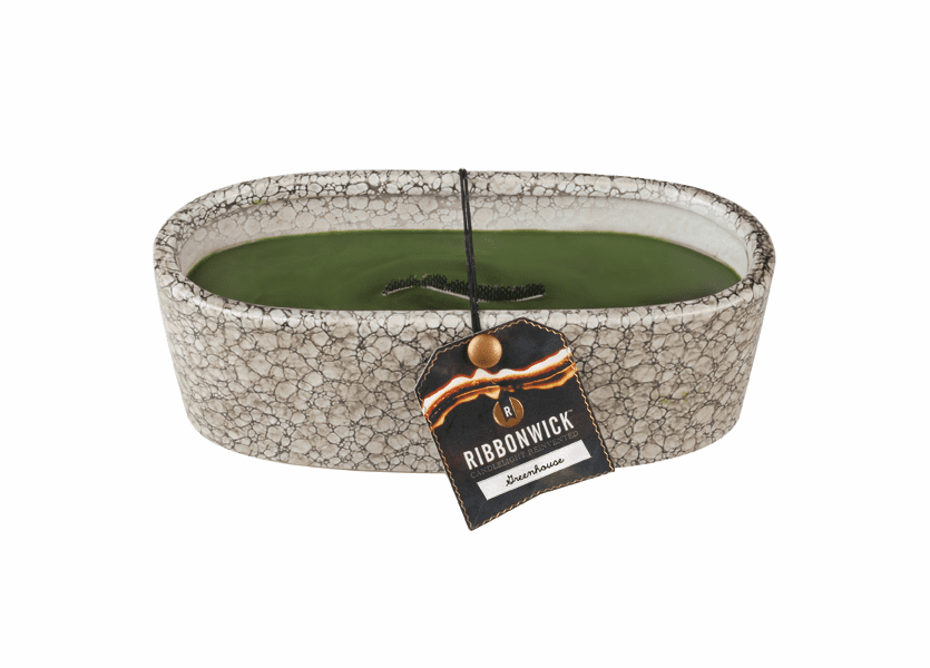 _DISCONTINUED - Greenhouse RibbonWick Large Oval Pebble Stone Candle