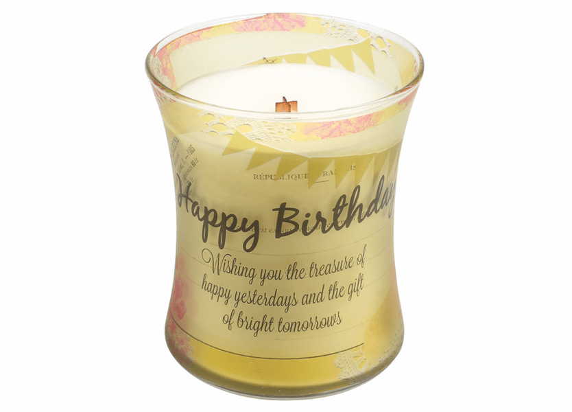 _DISCONTINUED - Happy Birthday Linen Inspirational Collection Hourglass WoodWick Candle