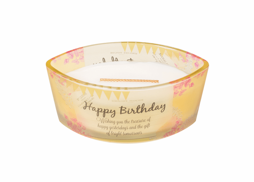 _DISCONTINUED - Happy Birthday Vanilla Bean Inspirational Ellipse WoodWick Candle HearthWick Flame