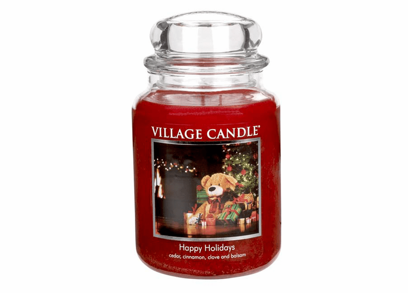 _DISCONTINUED - *Happy Holidays 26 oz. Premium Round by Village Candles