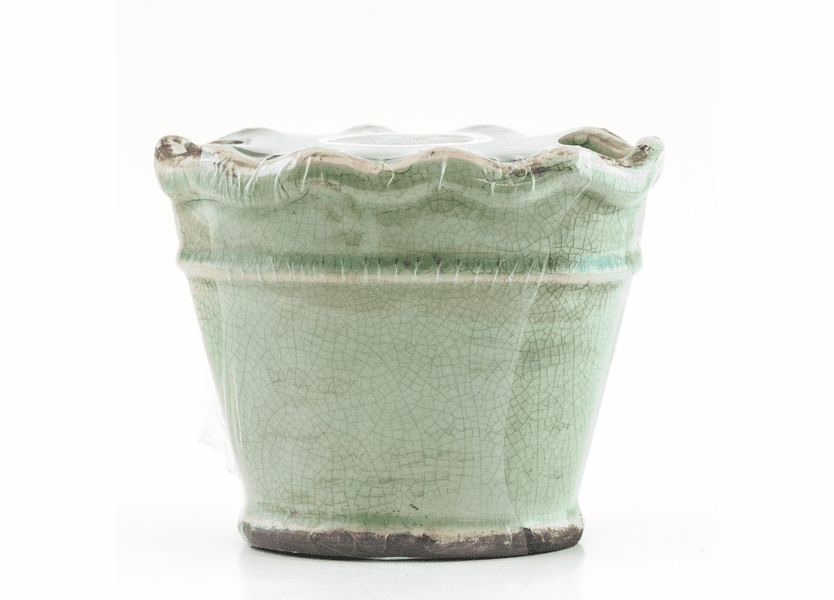 _DISCONTINUED - Heavenly Red Velvet Cake Ruffled Vase Swan Creek Candle (Color: Teal)