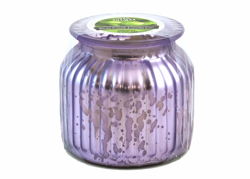 _DISCONTINUED - Hibiscus Green Tea Gilded Glass Medium Jar Swan Creek Candle