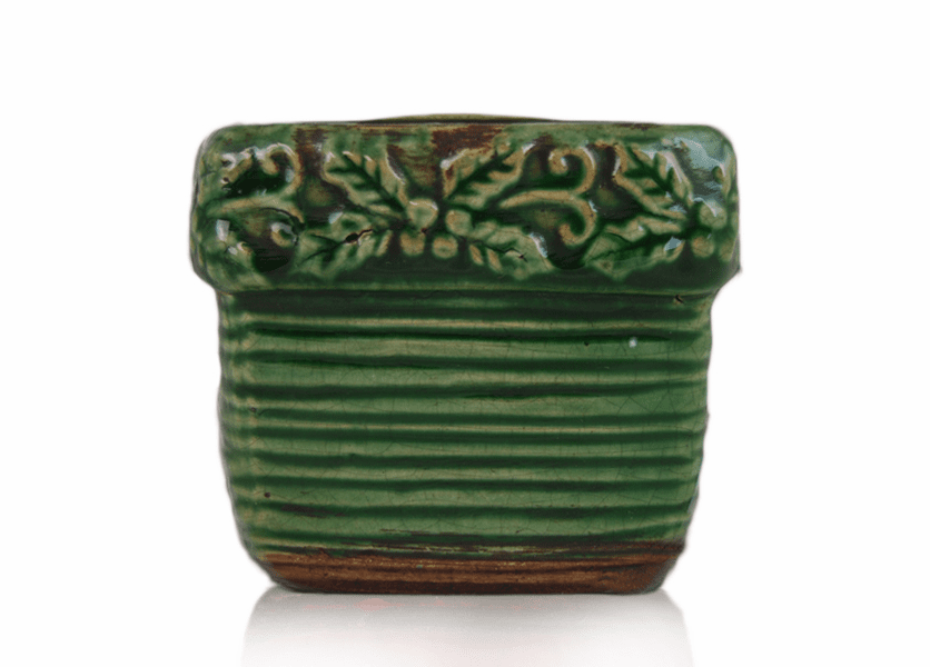 _DISCONTINUED - *Holiday Citrus & Clove Ribbed Square Pot (Color: Green)