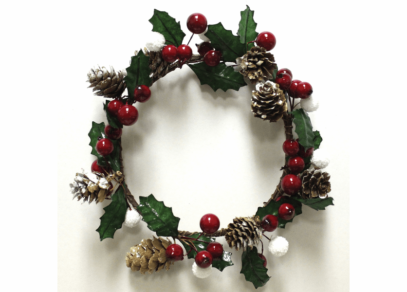 _DISCONTINUED - Holly Berries & Pinecones Winter Candle Ring by A Cheerful Giver