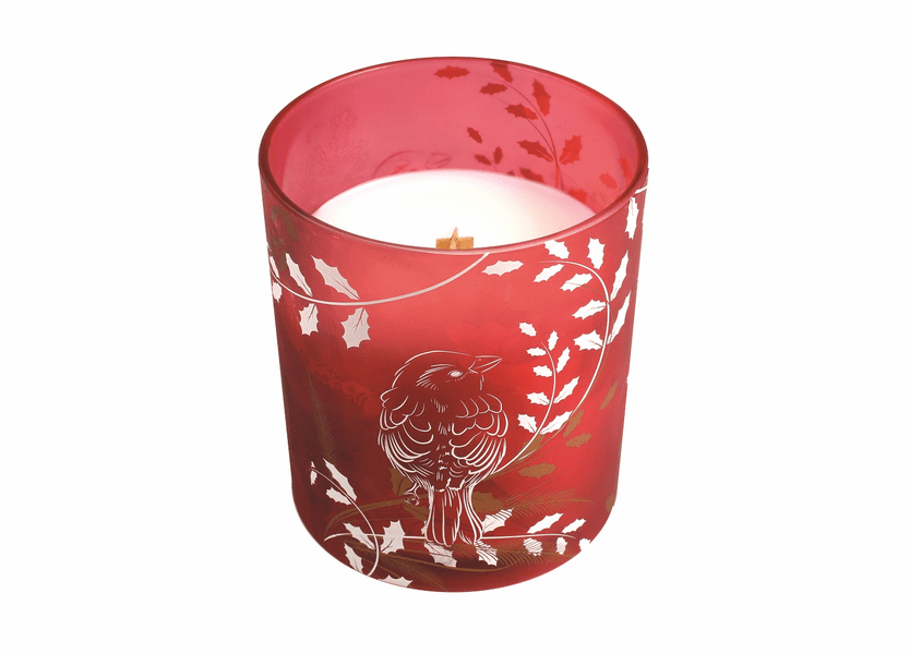_DISCONTINUED - *Holly Berry Holiday Red Decal Glass WoodWick Candle