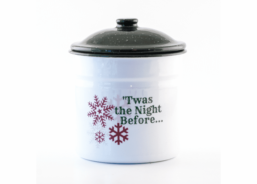 _DISCONTINUED - Home for the Holidays Festive Holiday Enamelware Large Canister w/Lid Swan Creek Candle