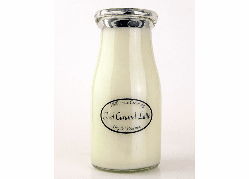 _DISCONTINUED - Iced Caramel Latte 8 oz. Milkbottle Candle by Milkhouse Candle Creamery