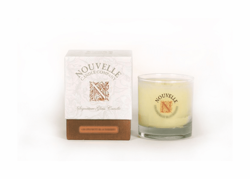 _DISCONTINUED - Italian White Sunflower Large Signature Glass 11 oz. Nouvelle Candle