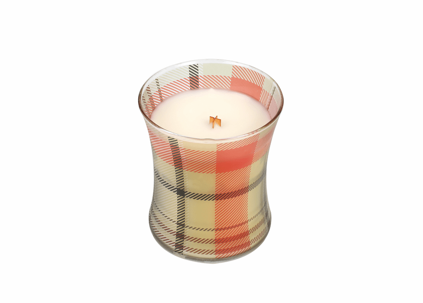 _DISCONTINUED - *Jolly Gingerbread Holiday Plaid Hourglass WoodWick Candle