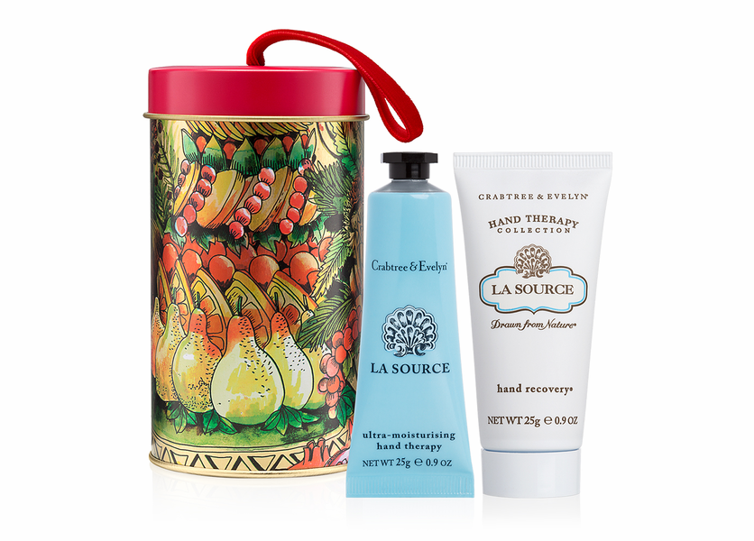 _DISCONTINUED - La Source Hand Therapy and Hand Recovery Ornament Tin - Holiday Collection by Crabtree & Evelyn
