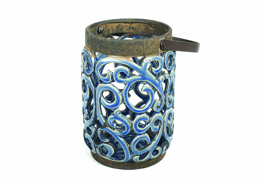 _DISCONTINUED - Large Blue Ceramic Lantern by Virginia Gift Brands