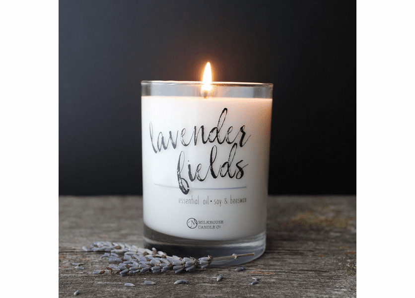 _DISCONTINUED - Lavender Fields 10.5 oz Limited Edition Spa Essential Oil Jar by Milkhouse Candle Creamery
