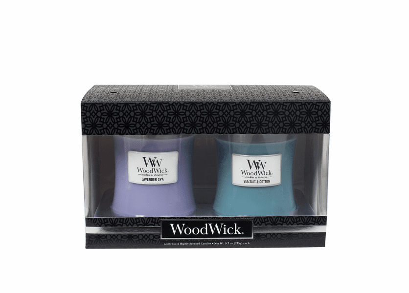 _DISCONTINUED - Lavender Spa / Sea Salt & Cotton 10 oz. Candle 2-Pack Gift Set by WoodWick