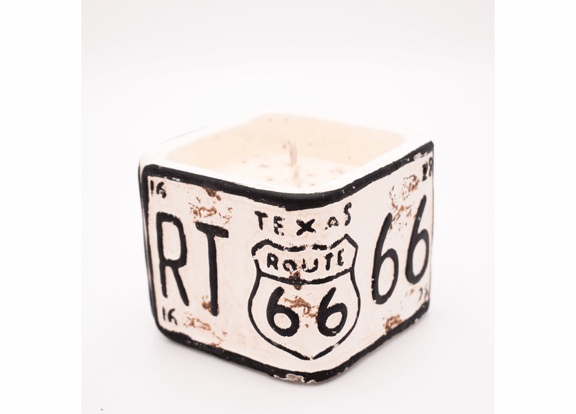 """_DISCONTINUED - Leather American Highway """"Texas"""" License Plate Square Pot Swan Creek Candle"""