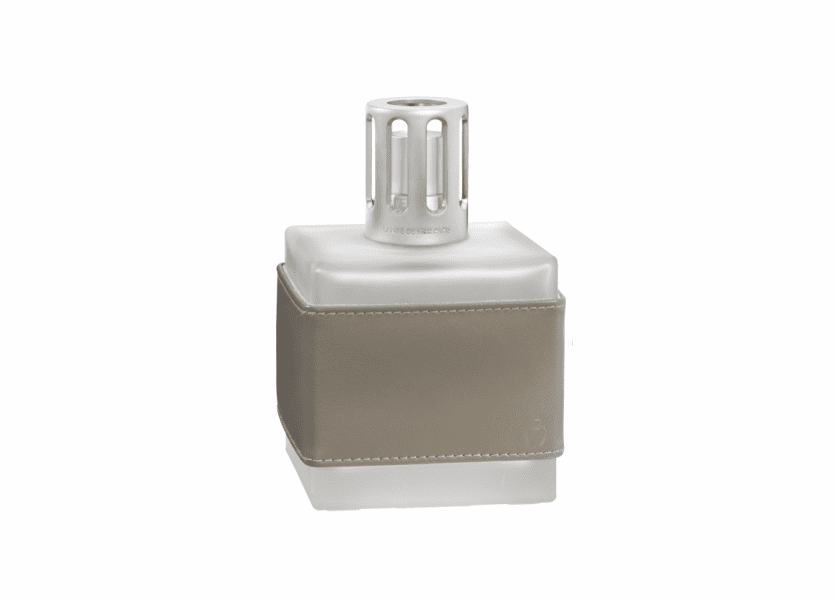 _DISCONTINUED - Leather Cube Grey Fragrance Lamp by Lampe Berger