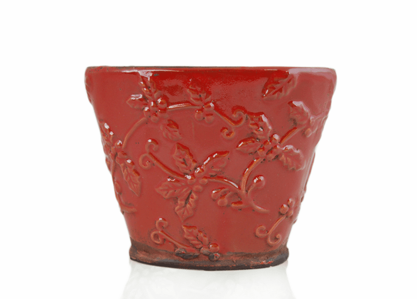 _DISCONTINUED - *Mistletoe Kiss Holiday Flared Vase (Color: Red)
