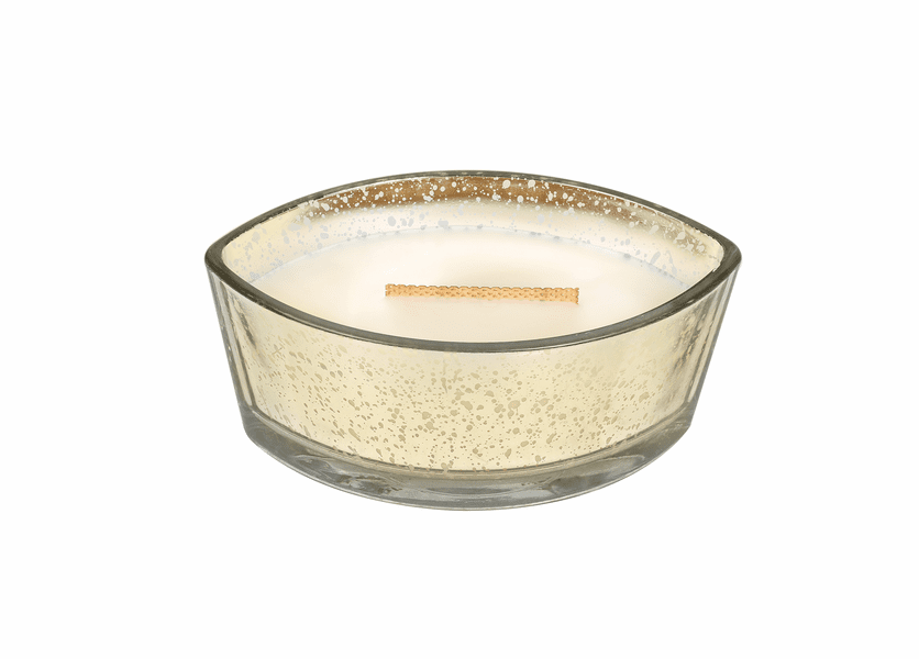 _DISCONTINUED - *Oatmeal Cookie WoodWick Candle Mercury Ellipse Glass HearthWick Flame