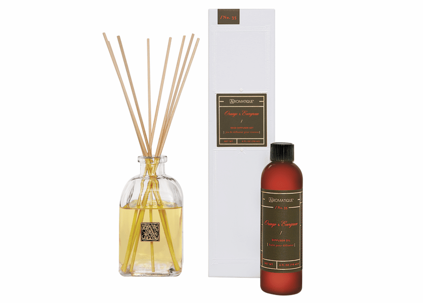 _DISCONTINUED_Orange & Evergreen 4 oz. Reed Diffuser Set by Aromatique