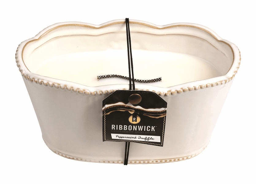 _DISCONTINUED - *Peppermint Truffle Large Oval Premium RibbonWick Candle