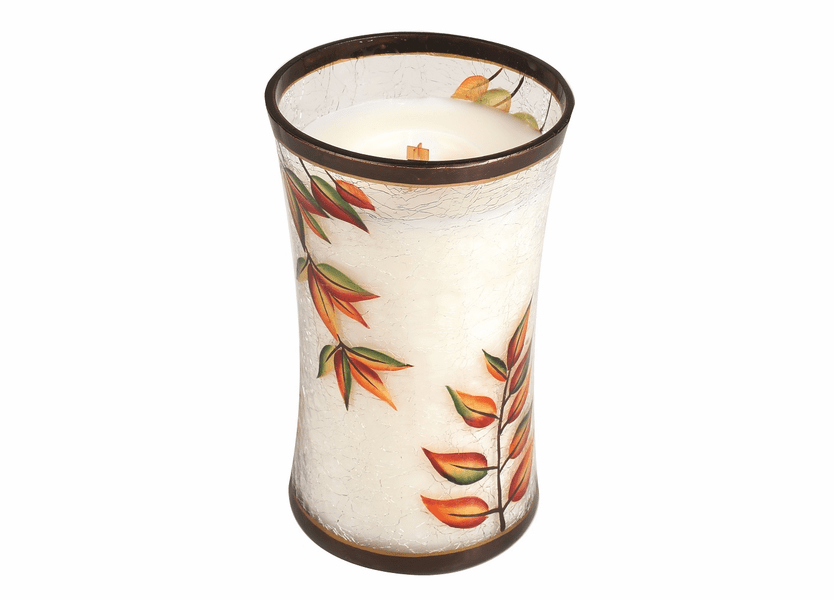 _DISCONTINUED - *Pumpkin Butter Large Fall Decal Crackle Glass WoodWick Candle