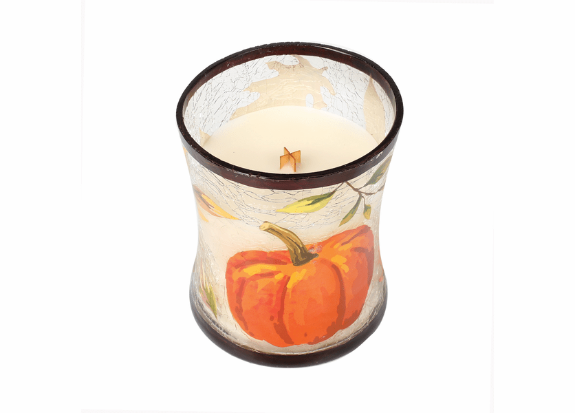 _DISCONTINUED - *Pumpkin Butter Medium Fall Decal Crackle Glass WoodWick Candle