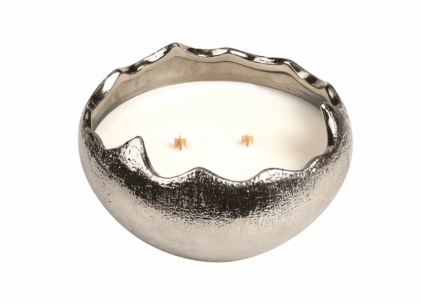 _DISCONTINUED - *Snowdrop Holiday Medium Silver Cracked Egg WoodWick Candle