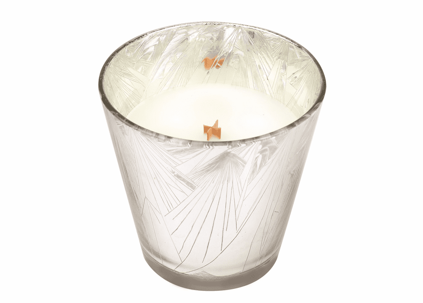 _DISCONTINUED - *Snowdrop Holiday Silver Starburst Glass WoodWick Candle