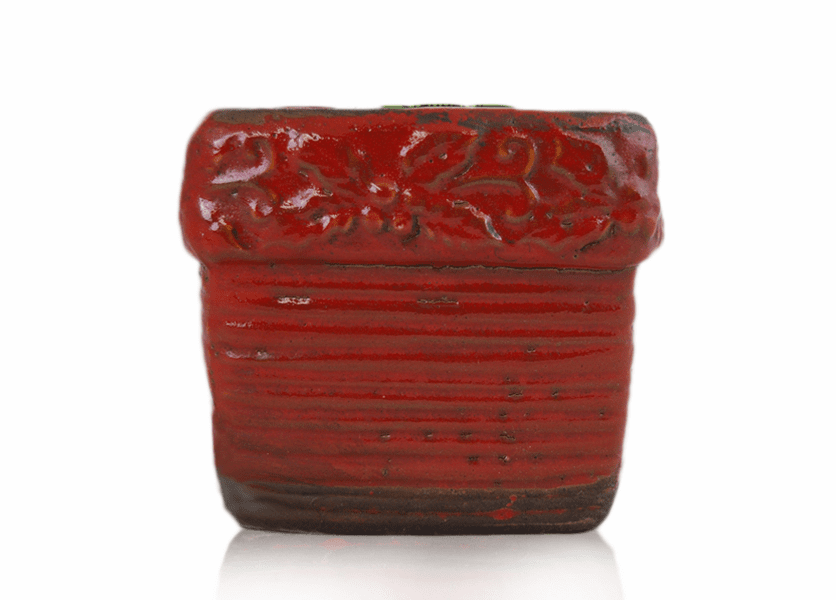 _DISCONTINUED - *Sparkling Cranberry Ribbed Square Pot (Color: Red)