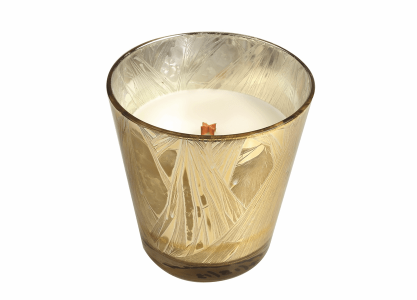 _DISCONTINUED - *Spiced Eggnog Holiday Gold Starburst Glass WoodWick Candle