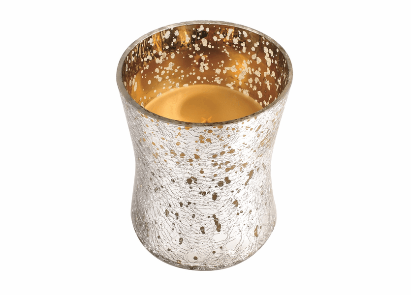 _DISCONTINUED - *Spiced Eggnog Medium Holiday Crackle Metallic WoodWick Candle