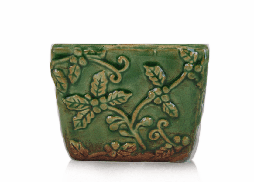 _DISCONTINUED - *Spiced Orange & Cinnamon Square Holly Pattern Pot (Color: Green)